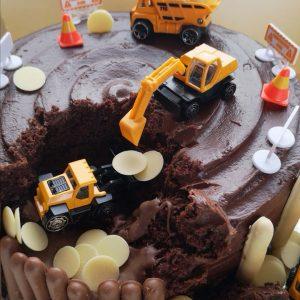 Triple chocolate digger cake